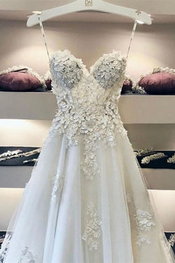 Elegant A Line Sweetheart See Through Wedding Dress Bridal Gown With Appliques