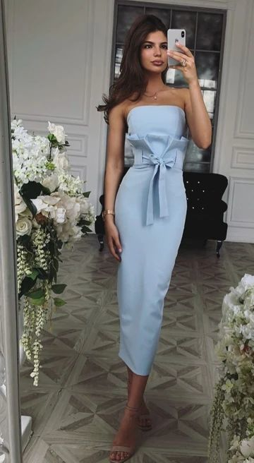Cute Sheath Strapless Blue Satin Ankle Length Wedding Guest Dresses,Prom Party Dresses /Evening Dress