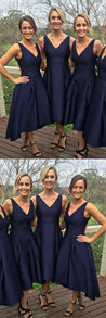 Custom Bridesmaid Dress, V-neck Prom Dress, Bridesmaid Dress Blue, Navy Prom Dress