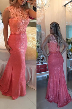 Custom Made Charming Hot Pink Prom Dress, Sexy Sleeveless Evening Dress, Sequins Beading Prom Dress