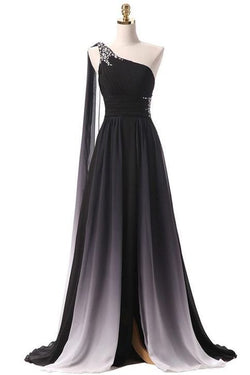 Black prom dress Ombre Chiffon One Shoulder party dress Long evening Dresses Formal Evening Bridesmaid Dress