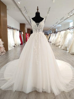 Gorgeous Wedding Dresses with Appliques,White Wedding Dress with Long Train