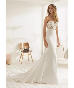 Charming Mermaid Wedding Dress Satin With Lace Sweetheart Beading Bridal Gown
