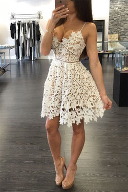Cute Ivory Lace Cocktail Dress,Low Back Homecoming Dress With Spaghetti Straps