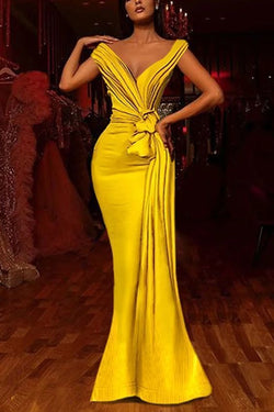 Yellow African Evening Dresses Pleats Knoted Mermaid Prom Gowns V Neck Short Sleeve Ruffles