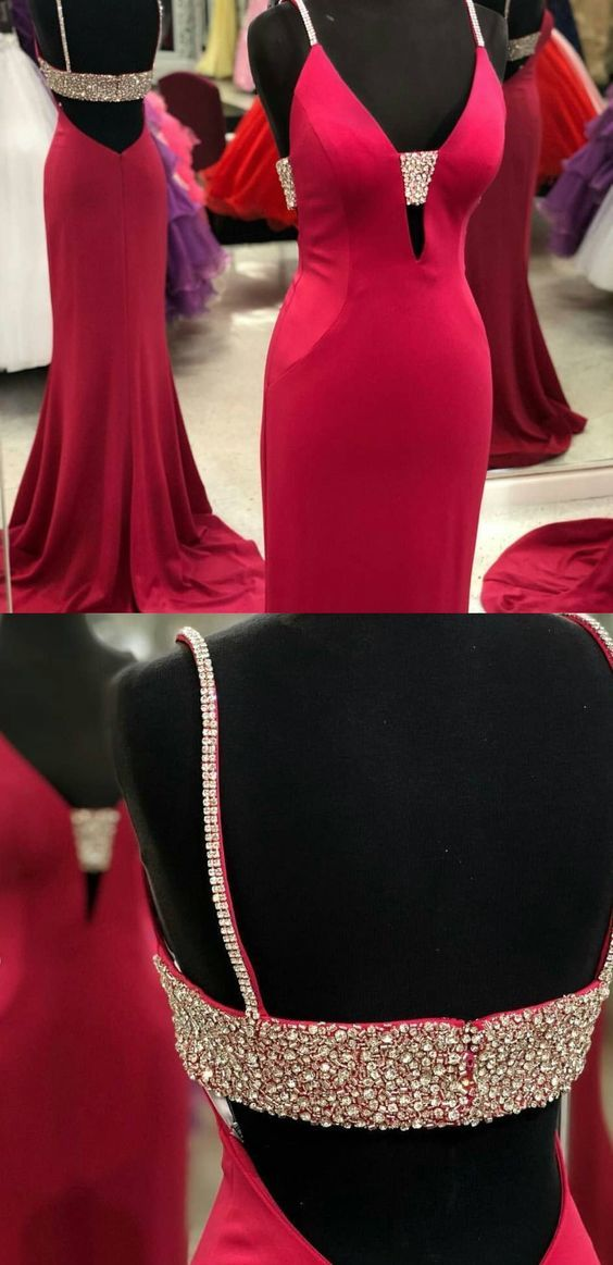 Red Prom Dress,Satin Prom Gown,V-Neck Prom Dress,Beading Wedding Gown