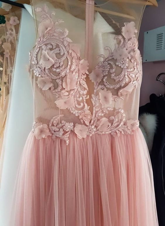 wedding dress,Blush lace gown,Modest wedding dress,Prom dress long,Formal lace dress