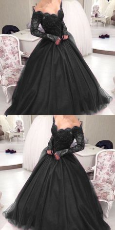 New Arrival Black Lace Ball Gown Quinceanera Dresses With Long Sleeve Plus Size Women Party Gowns