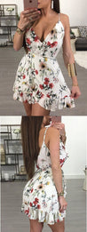 A-Line Homecoming Dress,Spaghetti Straps Homecoming Dresses,Short Homecoming Dress,Floral Homecoming Dress with Ruffles