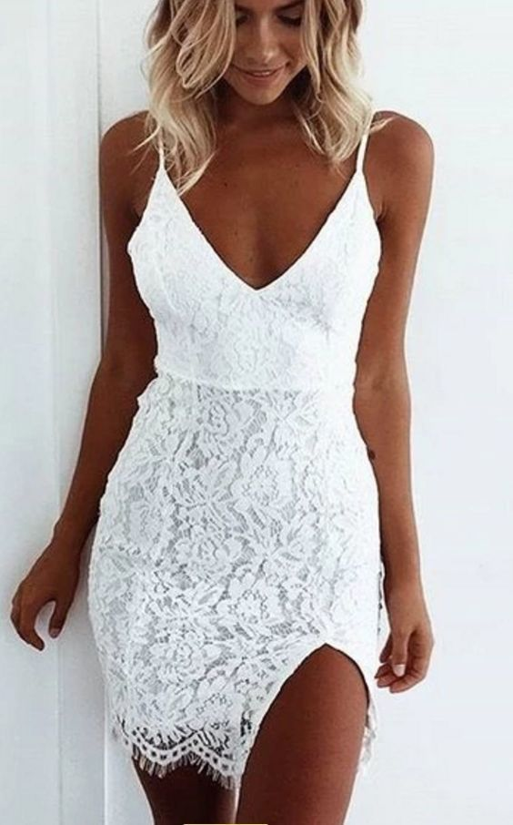 A-Line Spaghetti Straps White Lace Homecoming Dress