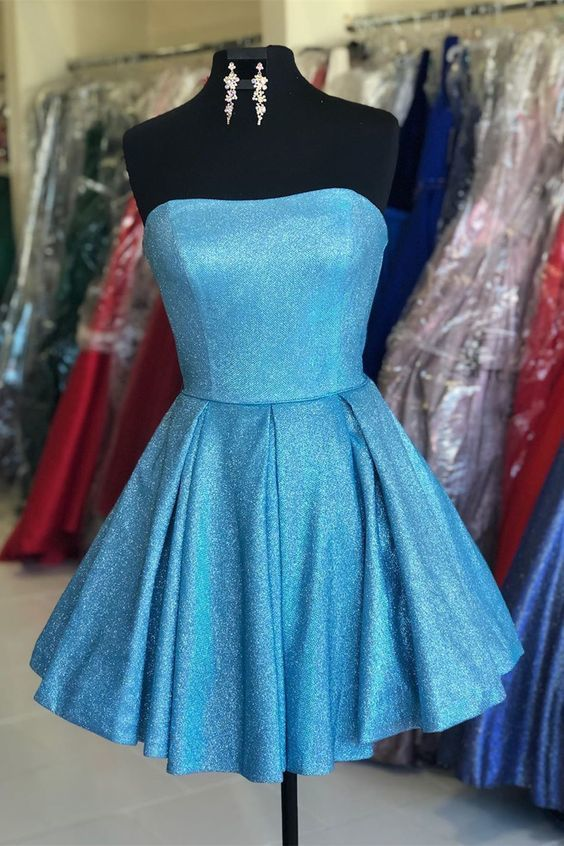 short blue homecoming dress,short prom dress