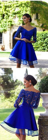 A Line Homecoming Dresses V Neck 3/4 Length Sleeves With Applique Tulle
