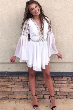 A-Line V-Neck Long Sleeves Short White Chiffon Homecoming Dress