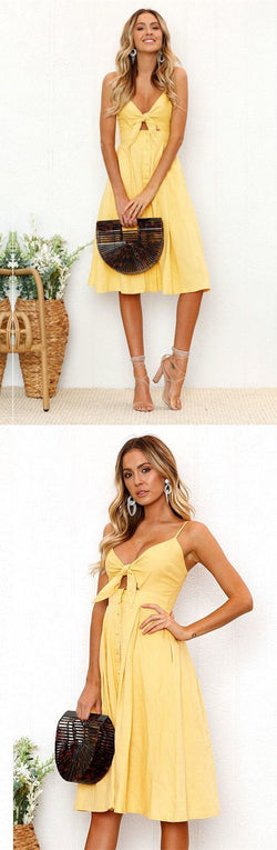Cute Straps Yellow Tie Front Dress, Back to School Dress, 2020 Short Homecoming Dress