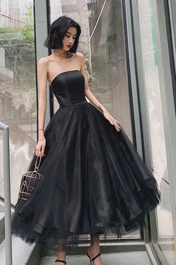 Black Strapless Tulle Homecoming Dress Puffy Ankle Length Formal Dresses