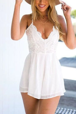 White Scallop V Neck Lace Elastic Waist Playsuit,homecoming dress