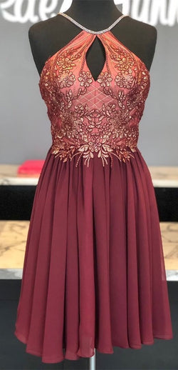 cute burgundy short homecoming dresses, 2019 homecoming dresses