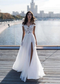 2019 New Capped Sleeves Lace Top Wedding Dresses Sheer Neck A Line Chiffon Summer Beach Side Split Wedding Gowns