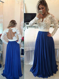 Fashion A-Line/Princess Long Sleeves Chiffon V-neck Floor-Length Pearl Dresses YBPO63