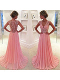 Fashion A-Line/Princess Chiffon Lace Sleeveless V-neck Sweep/Brush Train Dresses YBPO681