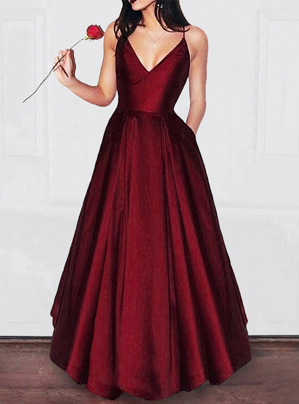 A-Line/Princess V-neck  Floor-Length Ruffles Satin Dresses YB33PO1111
