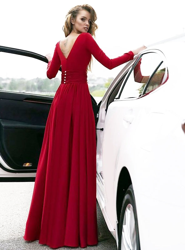 A-Line/Princess V-neck  Floor-Length Ruffles Satin Dresses YB33PO1114