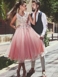 A-Line/Princess V-neck Sleeveless Lace Tea-Length Tulle Dresses YB33PO1185