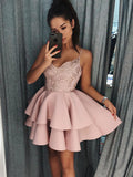 A-Line/Princess Spaghetti Straps Satin Sleeveless Short/Mini Dresses YB33PO1195
