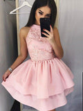 A-Line/Princess Lace Jewel Sleeveless Satin Short/Mini Dresses YB33PO1201