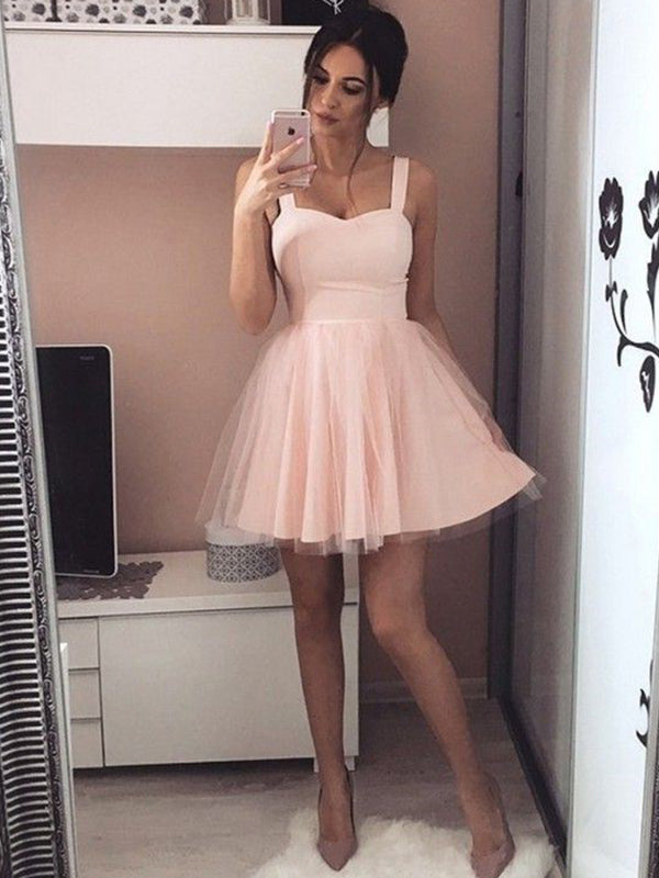 A-Line/Princess Satin Straps Sleeveless Ruched Short/Mini Dresses YB33PO1204