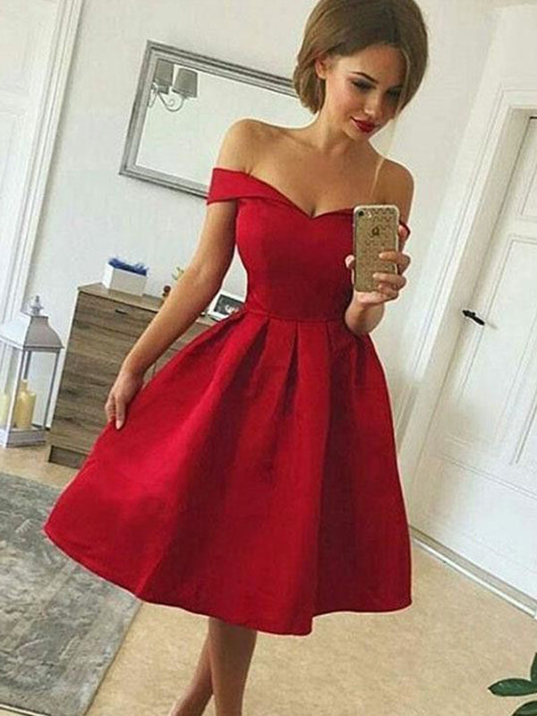 A-Line/Princess Satin Off-the-Shoulder Sleeveless Ruched Knee-length Dresses YB33PO1205