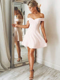A-Line/Princess Off-the-Shoulder Sleeveless Satin Short/Mini Dresses YB33PO1210