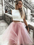 A-Line/Princess Tulle Bateau Lace Sleeveless Knee-Length Two Piece Dresses YB33PO1215