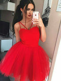 A-Line/Princess Tulle Spaghetti Straps Sleeveless Short/Mini Dresses YB33PO1221