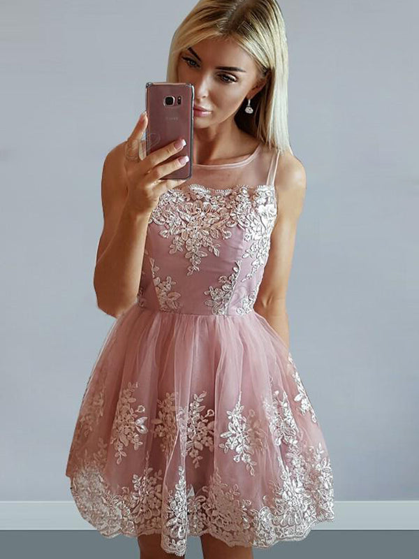 A-Line/Princess Tulle Sleeveless Scoop Applique Short/Mini Dresses YB33PO1224