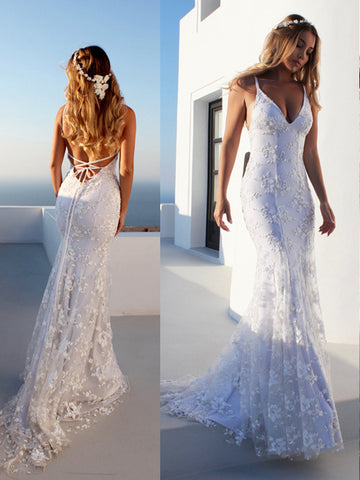 Trumpet/Mermaid Spaghetti Straps Sleeveless Lace Court Train Tulle Wedding Dresses YB33PO1626