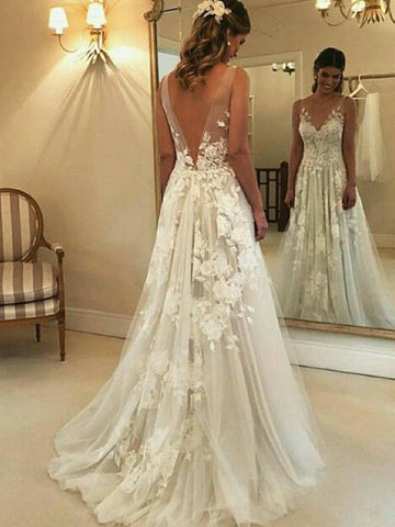 Stylish A-Line V-neck Sleeveless Sweep/Brush Train With Applique Tulle Wedding Dresses YB33PO1864