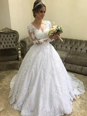 Stylish Ball Gown V-neck Long Sleeves Sweep/Brush Train With Applique Satin Wedding Dresses YB33PO1880