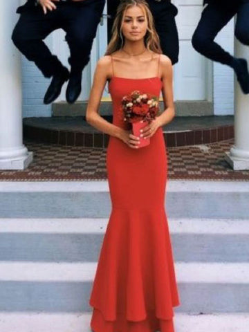 Stylish Sheath/Column Spaghetti Straps Sleeveless Floor-Length Layers Chiffon Dresses YB33PO1907