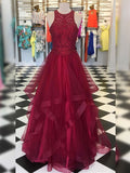 Fashion A-Line/Princess Organza Beading Scoop Sleeveless Floor-Length Dresses YB33PO1956