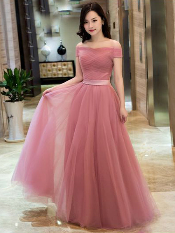 Fashion A-Line/Princess Tulle Ruffles Off-the-Shoulder Sleeveless Floor-Length Dresses YB33PO1960