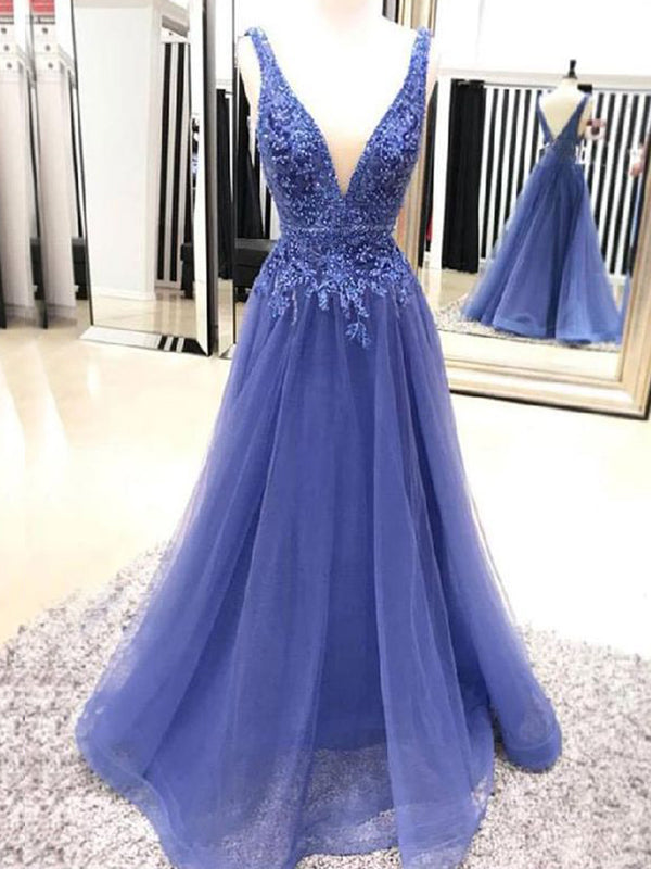 Fashion A-Line/Princess V-neck Sleeveless Floor-Length Applique Tulle Dresses YB33PO1988