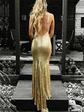 Stylish Trumpet/Mermaid V-neck Sleeveless Floor-Length Ruffles Sequins Dresses YB33PO1989