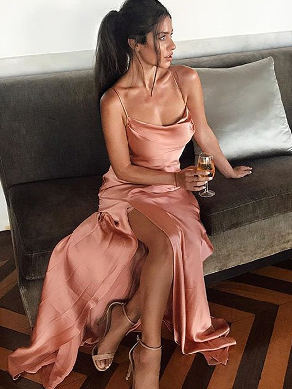 Sheath/Column Sleeveless Spaghetti Straps Floor-Length Silk like Satin Dresses YB33PO1998