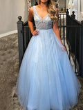 A-Line/Princess Sleeveless V-neck Floor-Length Beading Tulle Dresses YB33PO2012