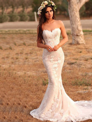 Trumpet/Mermaid Lace Applique Sweetheart Sleeveless Sweep/Brush Train Wedding Dresses YB33PO2024