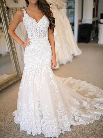 Trumpet/Mermaid Tulle Applique V-neck Sleeveless Sweep/Brush Train Wedding Dresses YB33PO2026