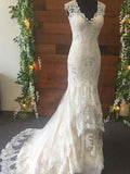 Trumpet/Mermaid Tulle Lace V-neck Sleeveless Sweep/Brush Train Wedding Dresses YB33PO2029