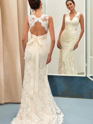 Trumpet/Mermaid Lace Sash/Ribbon/Belt V-neck Sleeveless Sweep/Brush Train Wedding Dresses YB33PO2030