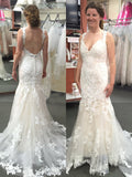 Trumpet/Mermaid Tulle Applique Straps Sleeveless Sweep/Brush Train Wedding Dresses YB33PO2031